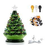 Árbol de Navidad de cerámica preiluminado con 50 piezas de bombillas de árbol de repuesto, árbol de Navidad de mesa de cerámica pintado a mano de 8.4 pulgadas, decoración navideña interior, adorno de