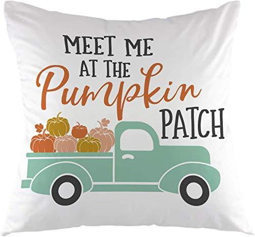 Fodera per cuscino per cuscino Meet Me at The Pumpkin Patch Fall Harvest Truck con zucche Halloween Square Fodera per cuscino autunnale per divano divano Camera da letto Soggiorno Decorazioni per la casa 18 'x 18' pollici