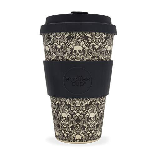 Ecoffee Bambus-Kaffeebecher mit kunstvollem Totenkopf-MotivMilperra Mutha 400 mlWiederverwendbar