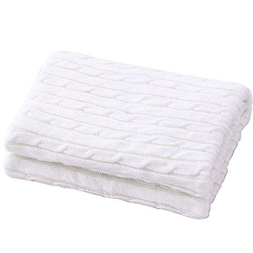 HEHEINC Gestrickte Baumwolle Kuscheldecke, Webpelzdecke Sofadecke Wohndecke Hochwertige Kuscheldecke, weich fließender Luxusqualität Tagesdecke, Decken Beige weiß