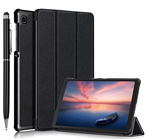 Akancy Estuche para Samsung Galaxy Tab A7 Lite Tablet, Protector Ultra Delgado Slim PU función de Soporte Perfectamente Adecuado,Negro+1X Screen Touch Stylus