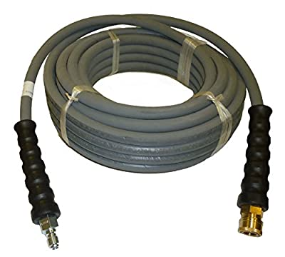 "PROPULSE, A Schieffer Co. 4000 PSI Grey 3/8"" x 50 FT 1 Layers of High Tensile Wire Braided Rubber Wrapped Pressure Washer Hose with Couplers"
