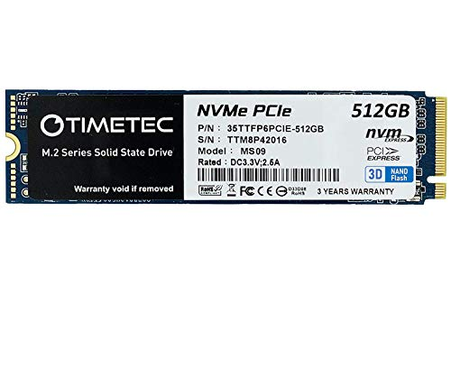 Timetec 512GB SSD NVMe PCIe Gen3x4 8Gb/s M.2 2280 3D NAND TLC 350TBW High Performance SLC Cache Read/Write Speed Up to 1,700/1,400 MB/s Internal Solid State Drive (512GB)