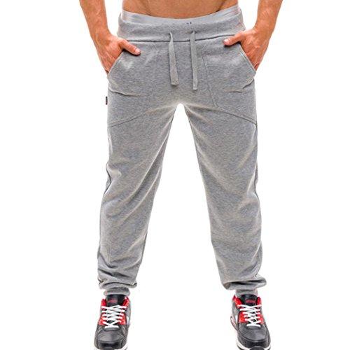 Paolian Pantalon à Lacets de Couleur Unie Tendance pour Hommes, Grandes Poches Amples et Confortables, (L, Argent)