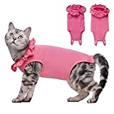 Yeapeeto Cat Bodysuit After Surgery Recovery Suit for Cats, Cat Spay Recovery Suit E Collar Alternative Abdominal Wounds Keep from Licking for Female Male Kitten Breathable Clothes (L, Pink)