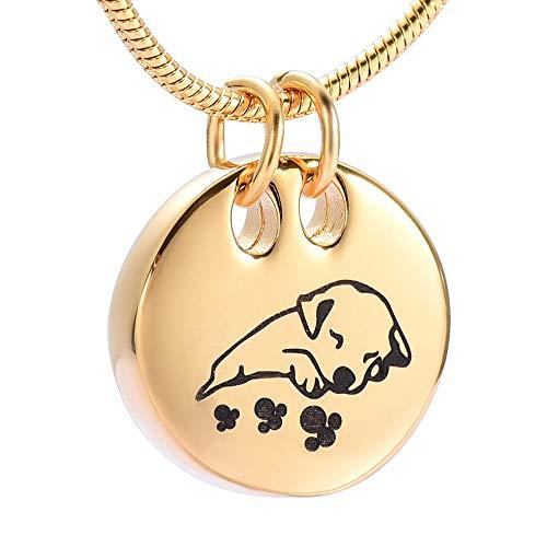 TIANZXS Dulce Imagen del Collar de la urna del Perro Durmiente Sostenga Las Cenizas Urna del Recuerdo Joyería Conmemorativa Collar de cremación para Mascotas 20 '' Cadena de Serpiente C