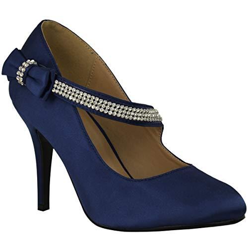 Damen Ehe Braut Ball Party Hoher Absatz Klassisch Pumps Schuhe Größe - Marineblau Satin, 38