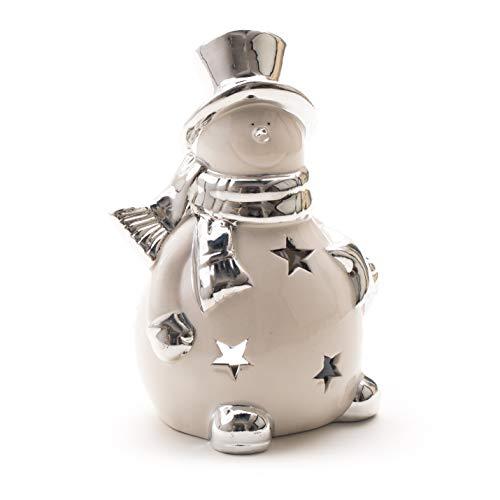DARO DEKO Keramik Schneemann Teelicht Silber-weiß 18cm