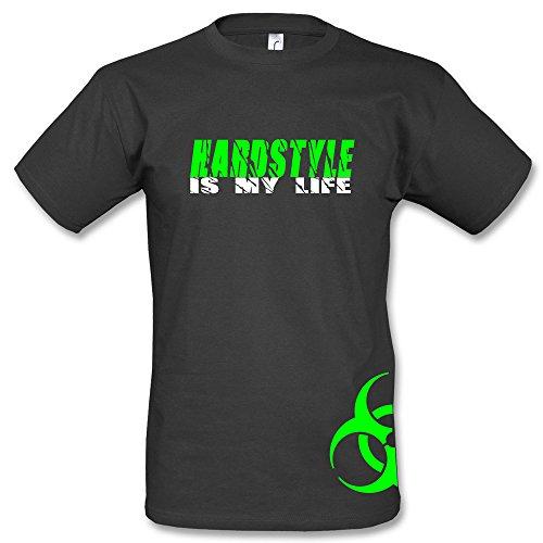 Hardstyle is My Life T-Shirt Biohazard Seitendruck Schwarz (XL, Grün)