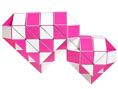 EasyGame -Magic Snake Twist 24 Cuñas Magic Gobernante Cube Twist Puzzle Pink Toy 42x2.4x1.6cm