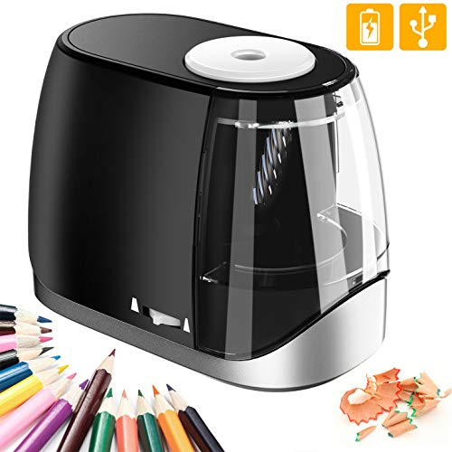 STOON Electric Pencil Sharpener, Battery Operated/USB Pencil Sharpener with Auto Stop for No.2/Colored Pencils(6-8mm), Fast Sharpen Heavy-duty Helical Blade, for Artist, Kids, Classroom, Office, Home