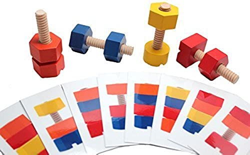 Wood Nuts and Bolts Toy with Pattern Cards - Montessori Wood Toy, Learning Toy, Fine Motor by Curious Minds Busy Bags