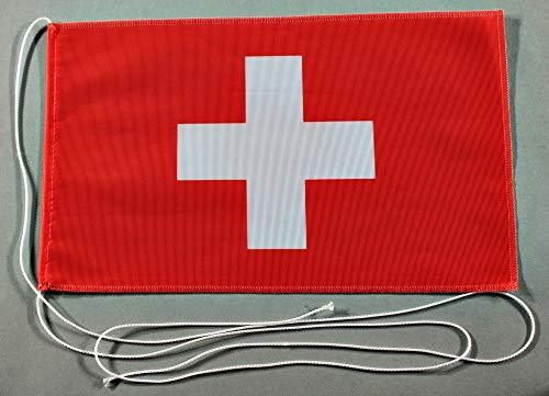 Buddel-Bini Schweiz 15x25 cm Tischflagge in Profi - Qualität Tischfahne Autoflagge Bootsflagge Motorradflagge Mopedflagge Schweizerfahne