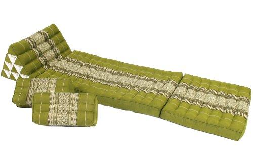 Set: Thaikissen 170x50 + 2 rechteckige Kissen 35x15x10 bambusgrün