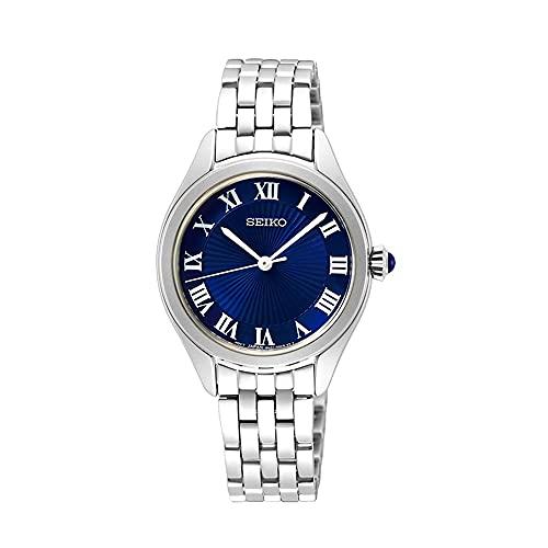 SEIKO Reloj para Mujer Analógico Cuarzo japonés con Correa de Acero Inoxidable Ladies Cuarzo 3 Agujas Acero ESF Azul
