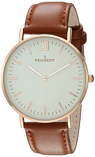 Peugeot Men's Ultra Slim Watch, 14Kt Gold Plated Round Minimalist Wrist Watch for Men with Easy to Read Dial and Genuine Leather Band