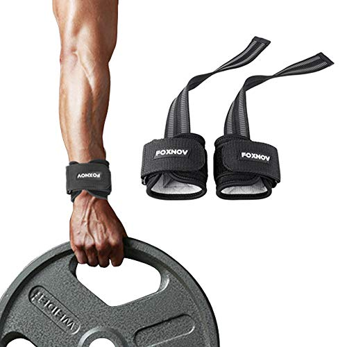 FOXNOV Padded Heavy Duty Weightlifting Straps with Cushioned Wrist Support and No- Slip Rubber Build-in Grip, Best for Deadlifts Adjustable Durable Nylon Bodybuilding Lifting Straps GYM