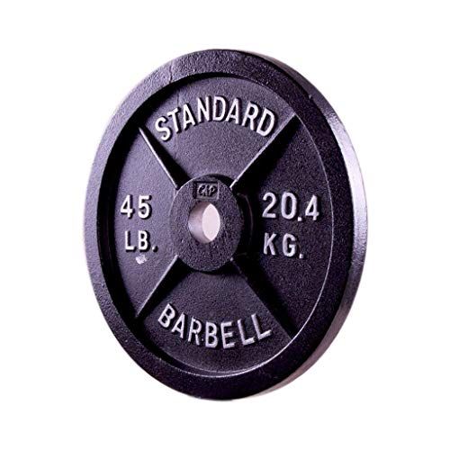 Jiande Single, Barbell 2-Inch Olympic Grip Plate, Black Barbell Olympic Grip Weight Plates 45lb/20kg, Olympic Plate Weights Pure Iron Dumbbell