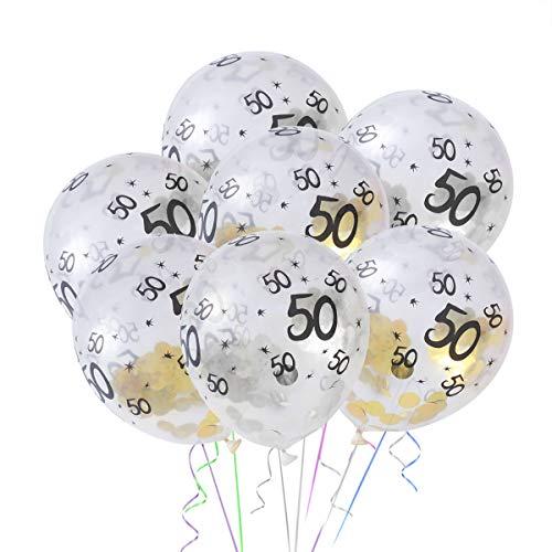 Toyvian 10pcs 50 Anni Compleanno Decorazione Palloncini in Lattice Confetti Palloncini per Festa Decorazione (5 d'oro, 5 d'Argento)