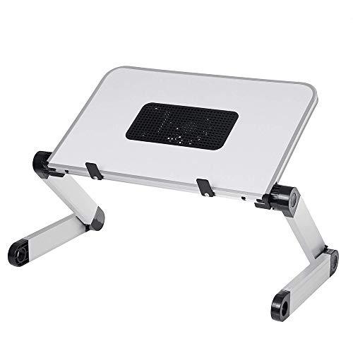 OUY Laptophalter Faltbar Mit Kühlerlüfterloch Aluminium Laptop Computer Schreibtisch Tisch Platzsparendes Notebookfach (Size:One Size; Color:White1)
