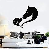 JHGJHGF Adesivo murale per Cani Cavallo Amore Animale Domestico Toelettatura Studio Nursery Camera dei Bambini Decorazione Interna Arte Astratta Adesivo in Vinile Murale
