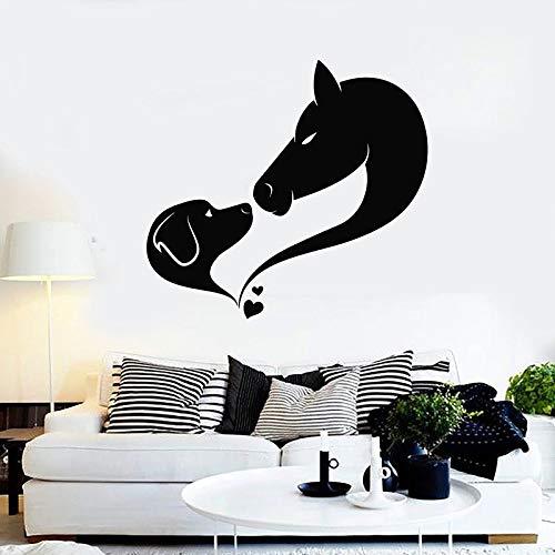 Dog Horse Wall Decal Love Animal Pet Grooming Studio Nursery Kids Room Interior Decoration Abstract Art Vinyl Sticker Mural