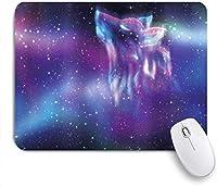 マウスパッド 個性的 おしゃれ 柔軟 かわいい ゴム製裏面 ゲーミングマウスパッド PC ノートパソコン オフィス用 デスクマット 滑り止め 耐久性が良い おもしろいパターン (オオカミのオーロラオーロラのディスプレイとファンタジーサイケデリックな北の星空)