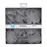 R&M International Musical Cookie Cutters, Piano, 3 Music Notes, G Clef, Guitar, Violin, 6-Piece Set