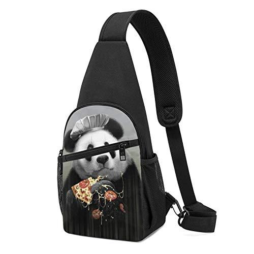 Sling Bag für Herren Anti-Diebstahl Schulterrucksack Leichte Crossbody Outdoor & Gym, Schwarz - Panda Loves Pizza schwarz - Größe: Einheitsgröße