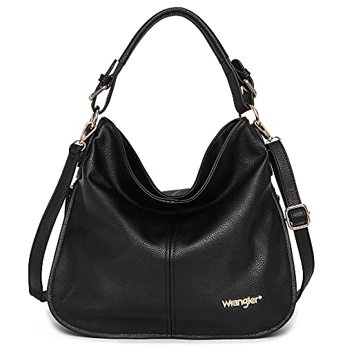 Wrangler by Montana West Leather Leather Tote Hobo Shoulder Bag for Women Large Top Handle Hangbag B2BWG16-918BK