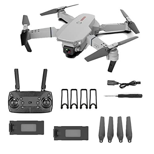 SWETIY Drone con Telecamera 4K Professionale,Mantenimento Dell'altitudine,Modalit¨¤ Senza Testa, Capovolgimento 3D, modalità Seguimi,Mini Drone per Principianti, 2 Batterie,Grigio
