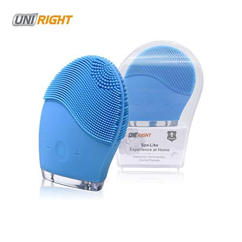 Uni-right Limpiador Facial Electrico, Cepillo Limpieza Facial de Silicona, Masajeador, para todo tipo de pieles, Protección contra el agua, Rejuvenece la Piel, Recargable USB (azul)
