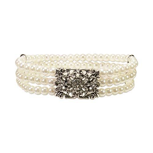 Alpenflüstern Perlen-Trachten-Armband Edda - elastische mehrreihige Trachten-Armkette mit Strass-Mittelteil, eleganter Damen-Trachtenschmuck, Perlenarmband Creme-weiß, klare Steine DAB060