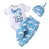 My First Easter Outfit Romper Infant Baby Boy Girl Short Sleeve Pant Bunny Letter Prints with Hat Stripe Set Suit (Blue, 12-18 Months)