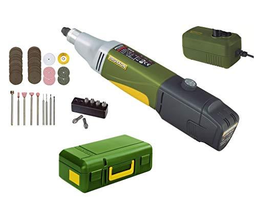 Proxxon 29800 Universalschleifer/Akku-Industrie-Bohrschleifer Ibs/A, 34 Einsatzwerkzeuge, 10,8 V, 2,6 Ah