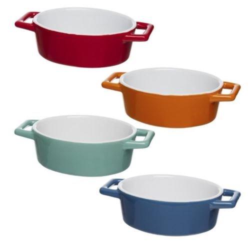 Set van 4 Mini Gekleurde Ovale Oven Aan Tafel Keramische Bakplaat Taart, Quiche, Taarten