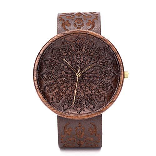 Holzuhr Zelus Von Ovi Watch, Hochwertige Handgefertigte Uhr aus Nussbaumholz mit Mandala-Symbolen, Schweizer Uhrwerk & Saphir Glas