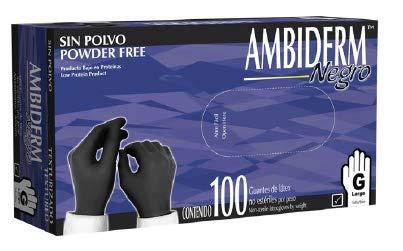 Ambiderm Guante Texturizado Negro Libre de Polvo Caja C/100 piezas