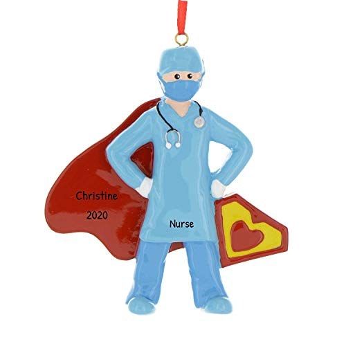 Personalized Super-Hero Doctor Christmas Tree Ornament 2020 - Frontline Health Care Practitioner New Job MD Profession Year Hospital COVID Gift Courage Cape Save Lives Nurse - Free Customization