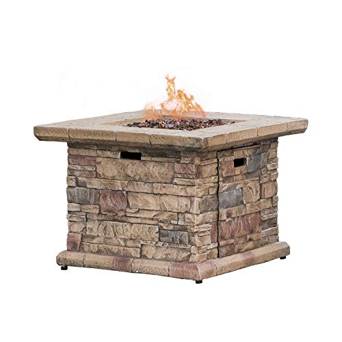 COSIEST Outdoor Propane Fire Pit Table w Faux Brown Ledgestone 32-inch Square Fire Table, 50,000 BTU Stainless Steel Burner, Free Lava Rocks, Fits 20 Gal Tank Inside