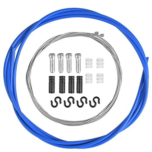 Cable Freno Bicicleta, Cable Freno Bicicleta, Universal Cable Cambio Bicicleta Montaña, Juego de Tubos de Núcleo de Línea de Freno de Bicicleta de Carretera con Terminales y Donuts para Bicicleta Azul