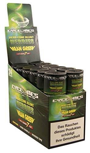 Cyclones Mean Green Kräuter Blunts mit Holztip Double 1 Box (12 Packungen/ 24 Blunts)