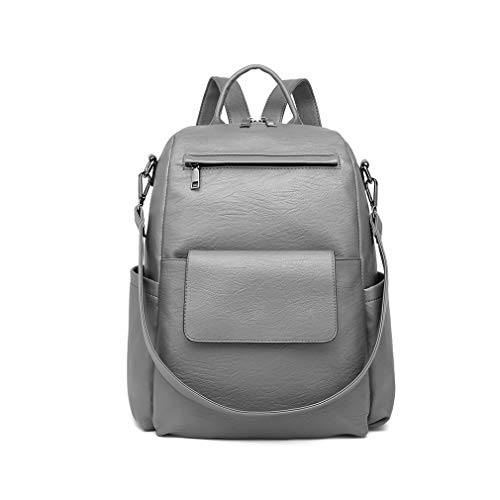 Miss Lulu Backpack Womens Fashion Rucksack Look Shoulder Bags for School PU Leather Top Handle Casual Daypack (Grey)