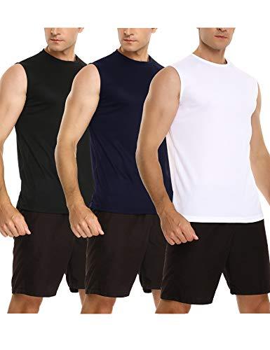 Sykooria 3 Piezas de Camisetas de Tirantes para Hombre Camiseta Sin Mangas Deportes de Secado Rápido Tank Tops Entrenamiento Correr Ciclismo Gym