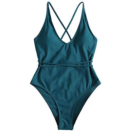 ZAFUL Set Bikini Donna Imbottito, Costume da bagno intero, costume da bagno con schiena aperta, Pushup Sexy Beachwear (S, Blu scuro)