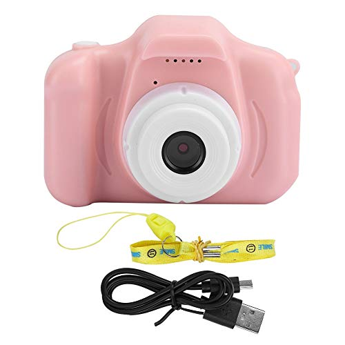Cartoon Children Camera Intelligence Digital Video Cameras for Toddler One-Touch Smart Focus Gift Camera with with Lanyard Suitable for Children of All(Pink-Pure Edition)