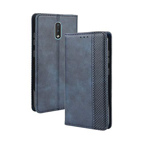 LAGUI Kompatible für Nokia 2.3 Hülle, Leder Flip Hülle Schutzhülle für Handy mit Kartenfach Stand & Magnet Funktion als Brieftasche, Blau