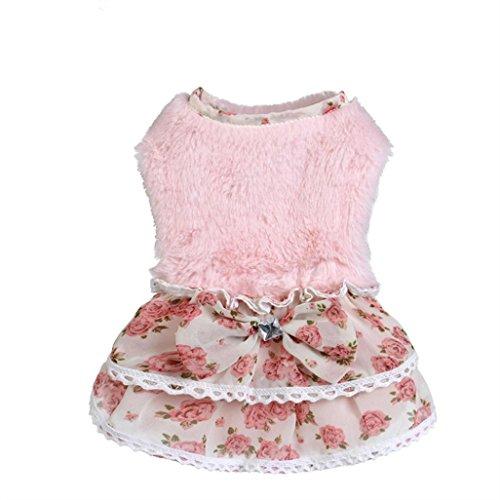 Ninasill Haustierbekleidung, ღ ღ Mantel für Welpen, warmer Pullover mit Schleife, Größe L, Rosa