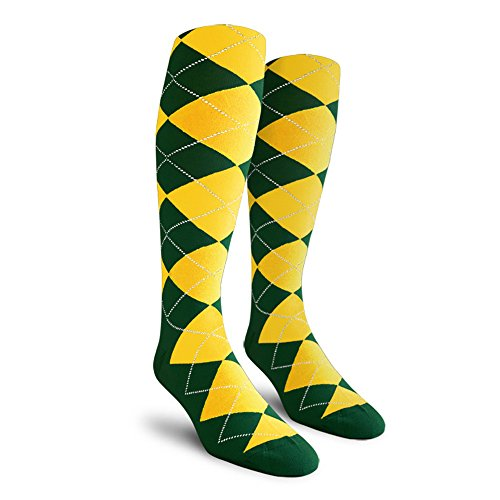 Argyle Golf Socks: Over-The-Calf - Dark Green/Yellow - Mens