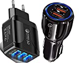 Pack X2 Quick Charge 3.0 1 Chargeur Secteur Rapide USB 20W/5.1A 3 Ports + 1 Chargeur Rapide Allume...